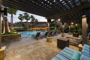 Three Bedroom Apartments for Rent in Northwest Houston, TX -Evening View of Pergola & Pool Area